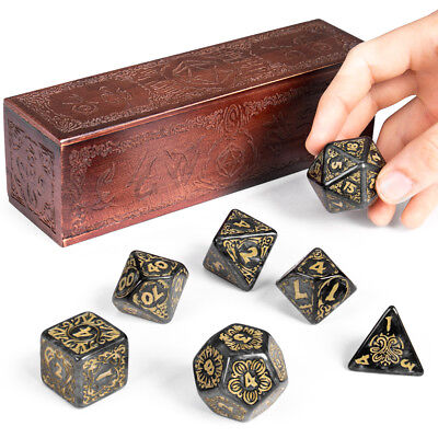 Titan Dice Nyx  7 Giant Polyhedral Dice Set in Wooden Box  25mm Jumbo Dice