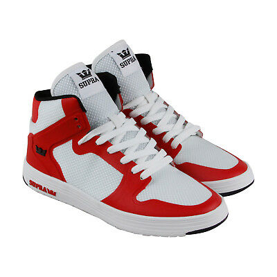 Supra Vaider 2-0 Mens White Red Textile High Top Lace Up Sneakers Shoes