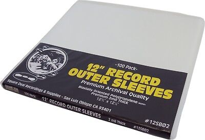 100 12SB02 12 SUPER CLEAR 2mil Record Outer Sleeves Vinyl Bags BOPP Flush Cut