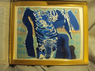 MCNEIL GEORGE Blue Man   ABSTRACT  LITHOGRAPH 10251 framed