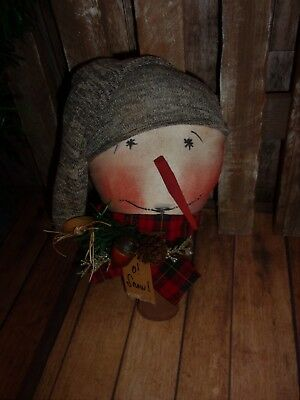 Primitive 9x5in SNOWMANS HEAD BROWN HAT BOBBIN Fabric Country old rusty doll