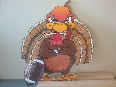 thanksgiving hand painted wood turkey shelf sitter