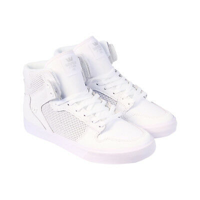 Supra Vaider Mens White Leather High Top Lace Up Sneakers Shoes 5