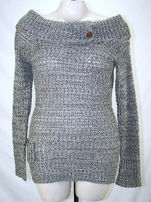 Wet Seal Beige Brown Blue Long Sleeve Cowl Neck Sweater Womens Size Large 12 14