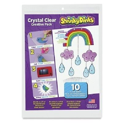 Shrinky Dinks Crystal Clear 10 Sheet Creative Pack -NEW