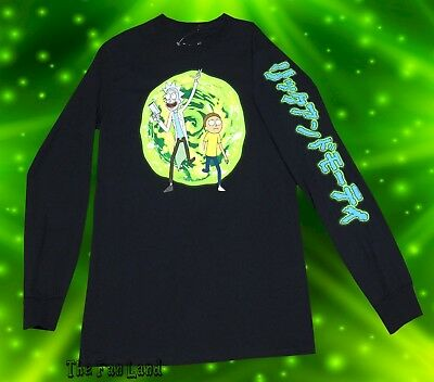 New Mens Cartoon Network Rick and Morty Portal Long Sleeve Mens T-Shirt