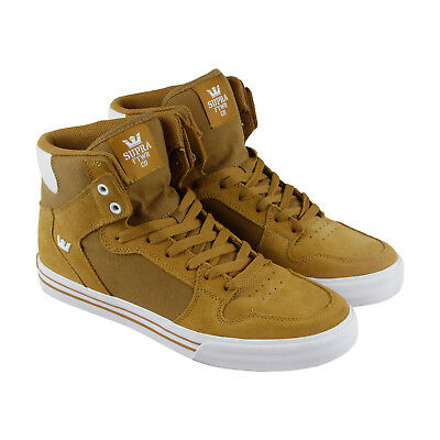 Supra Vaider Mens Tan Suede High Top Lace Up Sneakers Shoes