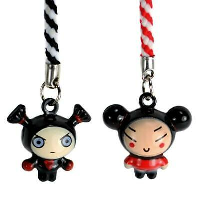 SET OF 2 PUCCA AND GARU BELL CHARMS Cute Cartoon Tiny Cell Phone Straps Craft