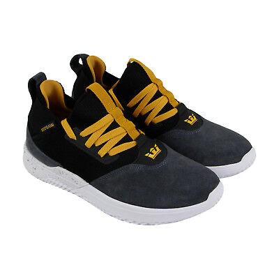 Supra Titanium Mens Gray Suede Athletic Lace Up Running Shoes