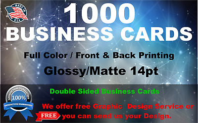 1000 BUSINESS CARDS  FULL COLOR  FREE SHIPPING  FREE DESIGN SERVICE