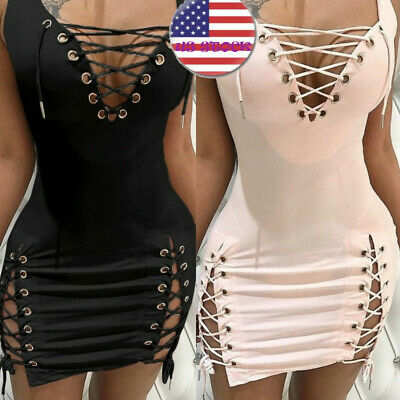 Solid Color Sexy Dress Sleeveless V Neck Lace Dresses Club party mini bodycon