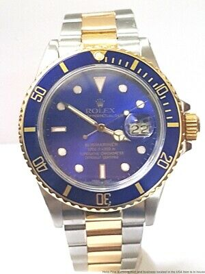 Mens Rolex 16803 18k Gold SS Quickset Two Tone Blue On Blue Submariner Watch