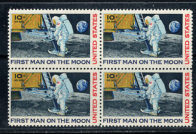 First Man On The Moon  1969 APOLLO 11  BLOCK OF 4  US POSTAGE STAMP MINT