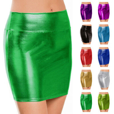 DAMEN ROCK ROHR SHORTS KOST M STIFT LACKLEDER HOHE TAILLE METALLISCH PU