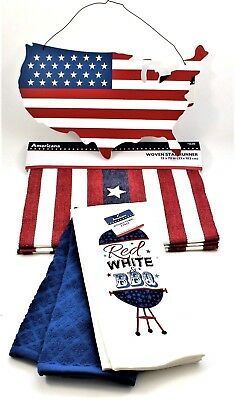 Fourth 4th of July Kitchen BBQ Decoration Set Towels Runner Hanging USA Picture