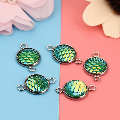 10Pcs Mermaid Fish Scale Charms Heart Round Connectors for Jewelry Findings New