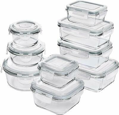 18 Piece Glass Food Storage Containers wAirtight Lids MicrowaveOven