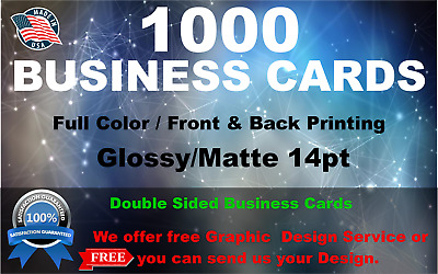 1000BUSINESS CARDSFULL COLORFREE SHIPPINGFREE DESIGN SERVICE