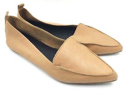 Aldo Womens Galinsky Camel Pointed Toe Flats Size 11 Leather Tan