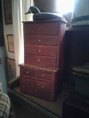 early primitive original red paint 1800s apothacary stepback cupboard
