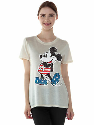 Juniors Mickey Mouse USA Flag 4th of July T-Shirt - Front Back Print Off-White