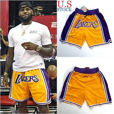Lakers Basketball Team Shorts Lebron James Summer League Mens Size S-XL US