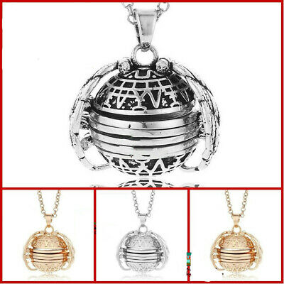 Mothers Day Expanding Photo Locket Necklace Ball Angel Wing Pendant Memorial US