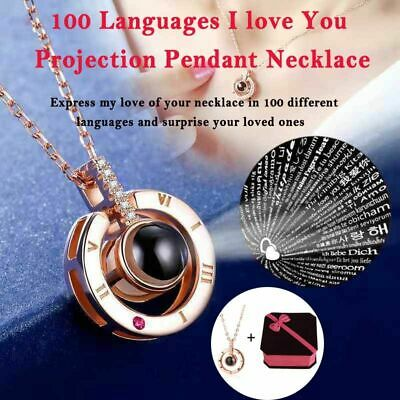 Mothers Day I LOVE YOU in 100 Languages Pendant Necklace Valentines Day Gift US