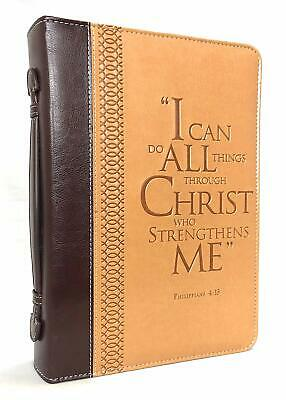 BIBLE COVER I Can Do All Things Through Christ Philippians 413 Large Two-Tone