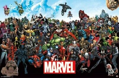 MARVEL SUPER HERO UNIVERSE ALL CHARACTERS POSTER Size 24x36