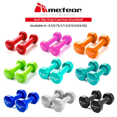 METEOR 0-5-6kg Anti-Slip Dumbbell Pair Weight Lifting Home Gym Fitness Dumbbells