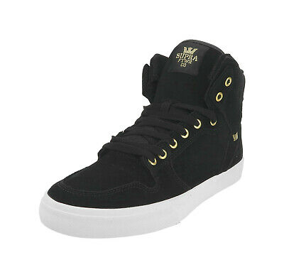 SUPRA Vaider Hi Top Black Gold White Suede Skateboarding Men Sneakers Shoes