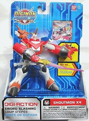Digimon Digi-Action Figure SHOUTMON X4 2013 New Bandai Fusion Sword Slashing
