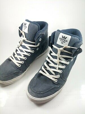 Men's Supra High Top Lace Up Sneakers Shoes Size 10 Blue and White