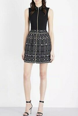Ted Baker Dasia Sparkle Print Gold Zip Dress - Size 0 New w Tags 325 Retail