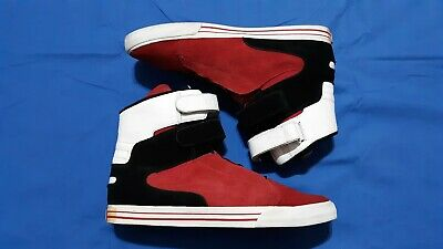SUPRA SKYTOP MENS  BLACK N RED CANVAS- HIGH TOP- LACE UP SNEAKER SHOES-SIZE 15