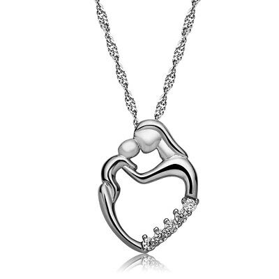 Mothers Day Gift Child Baby - Mom Heart Pendant Necklace Silver or Gold Gift