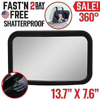 Baby Back Seat Car Mirror Rear Facing View Infant Child Shatterproof Safety