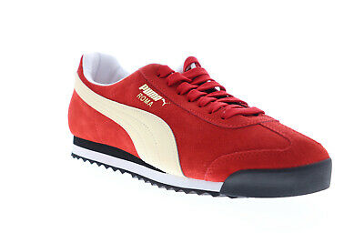 Puma Roma Suede Mens Red Suede Low Top Lace Up Sneakers Shoes