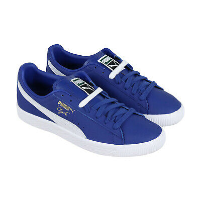 Puma Clyde Core 36929305 Mens Blue Leather Classic Low Top Sneakers Shoes