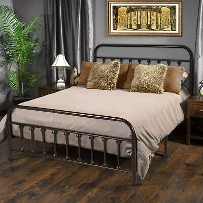Metal Bed Frame QUEEN Farmhouse Wrought Iron Vintage Modern Sturdy Country Style
