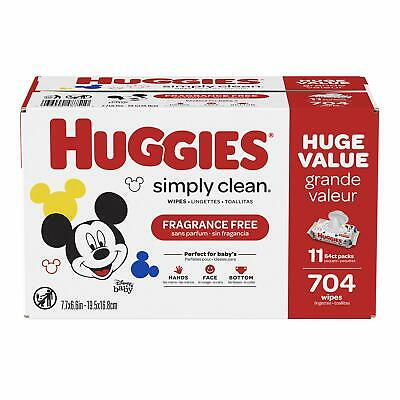 HUGGIES Baby Wipes Clean Fragrance free Soft Pack 704 Sheets Alcohol-free