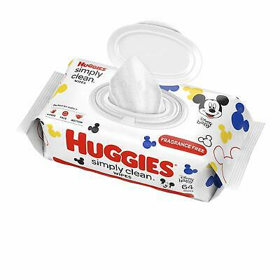 HUGGIES Simply Clean Fragrance-free Baby Wipes Soft Pack 64 Sheets Total