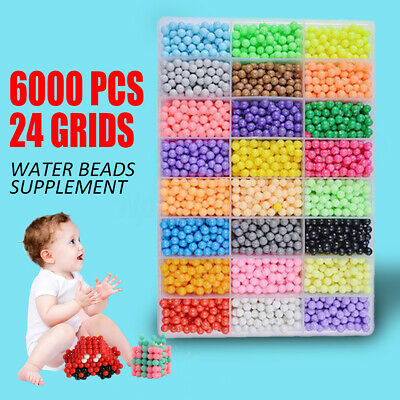 6000Pcs DIY Water Sticky Fuse Beads Spray Mist Bean Puzzle Kids Gift 24 Colors