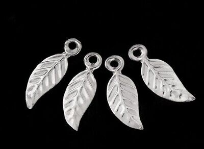 30 of 925 Sterling Silver Leaf Charms 4-5x10 mm- th0528