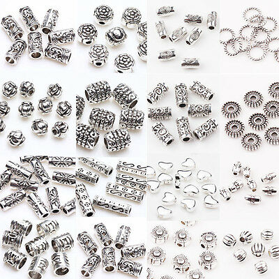 50100Pc Tibetan Silver Metal Charms Loose Spacer Beads Wholesale Jewelry Making