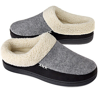 VONMAY Mens Memory Foam Comfort Slippers Wool-Like Lining Slip on House Shoes