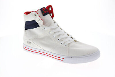 Supra Aluminum 05662-135-M Mens White Canvas Casual High Top Sneakers Shoes
