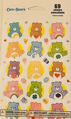 Care Bear Stickers  New Sealed Free Shipping 3 Sheets Sale