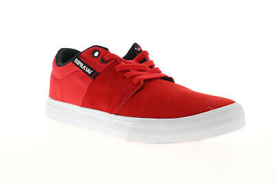 Supra Stacks Vulc II 08029-622-M Mens Red Suede Lace Up Athletic Skate Shoes